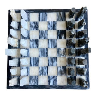 Mid-Century Hand Carved Onyx and Marble Chess Set For Sale