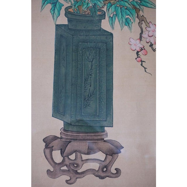 Chinese Hand Painted Asian Vase and Flowers Painting on Silk With Custom Frame For Sale - Image 4 of 11