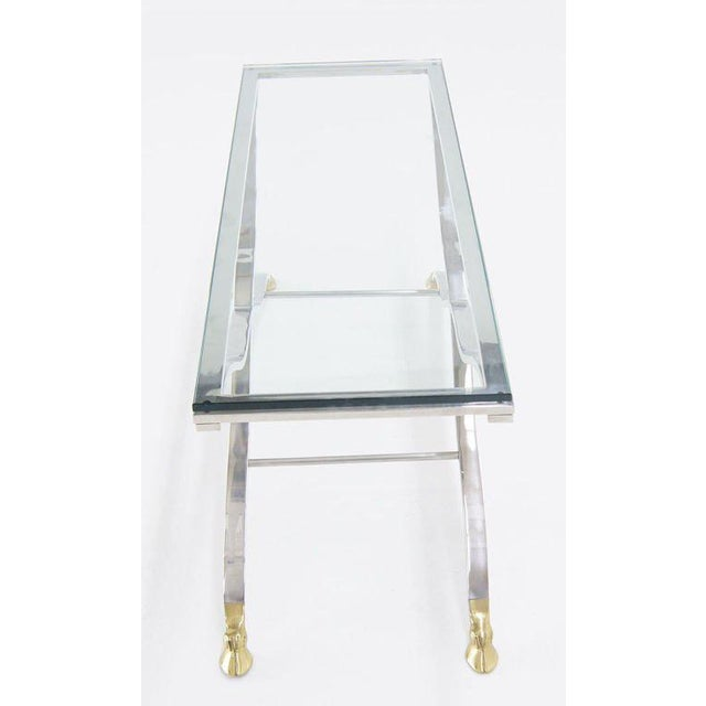 Gold Mid Century Modern Chrome Glass Top Console Table with Brass Hoof-Feet For Sale - Image 8 of 10
