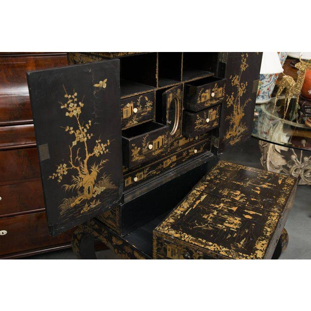 19th Century English Queen Anne Chinoiserie Chest on Stand - Image 4 of 10