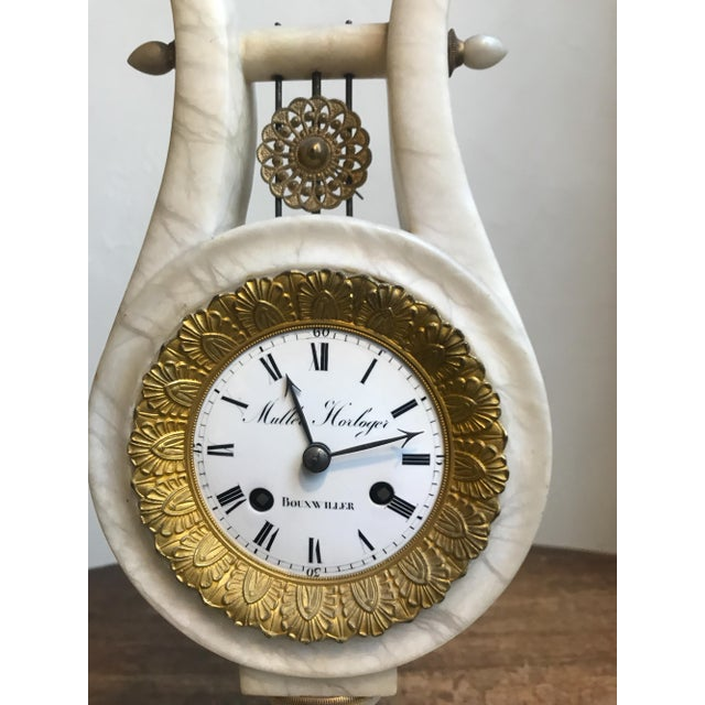 Antique French Neoclassical White Marble and Mercury Gilded Bronze Lyre Pendulum Clock For Sale - Image 9 of 12