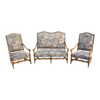 1900s French Louis XIII Style Os De Mouton Solid Walnut Armchairs & Settees - Set of 3 For Sale