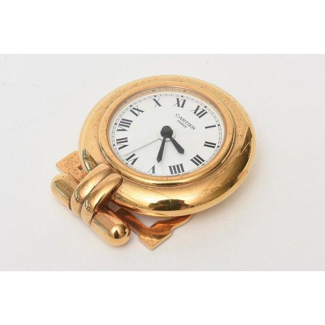 Cartier 24 Karat Gold Plated Travel Quartz Desk Clock/ Desk Accessory For Sale In Miami - Image 6 of 11