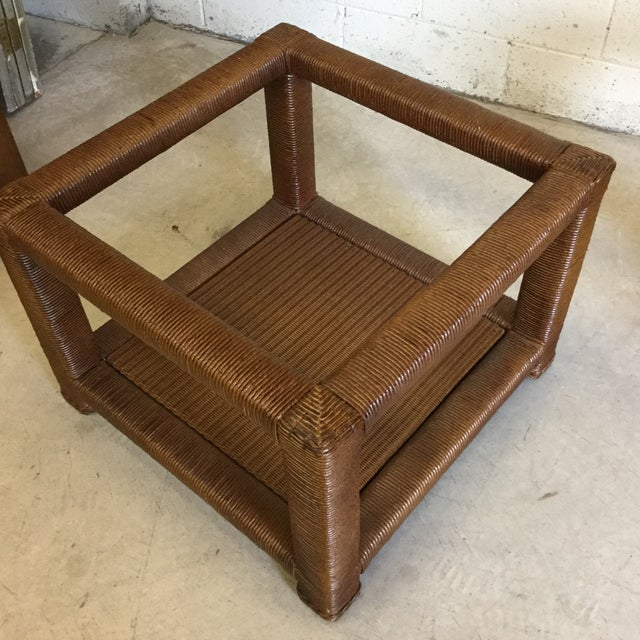 Janus Et Cie Wicker & Glass Top End Tables For Sale - Image 9 of 11