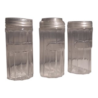 "1920s Vintage ""Hoosier"" Glass & Aluminum Lid Spice Jars - Set of 3 For Sale"