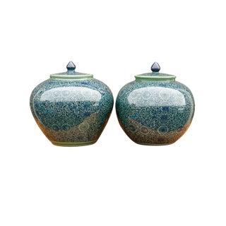 Blue Floral Ceramic Ginger Jars - a Pair For Sale