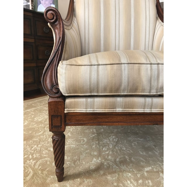 Drexel Heritage Neutral Stripe Bergere Chair For Sale - Image 9 of 9