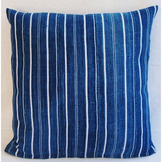 Woven Indigo Blue Stripe Batik Down Feather Pillow - Image 6 of 6