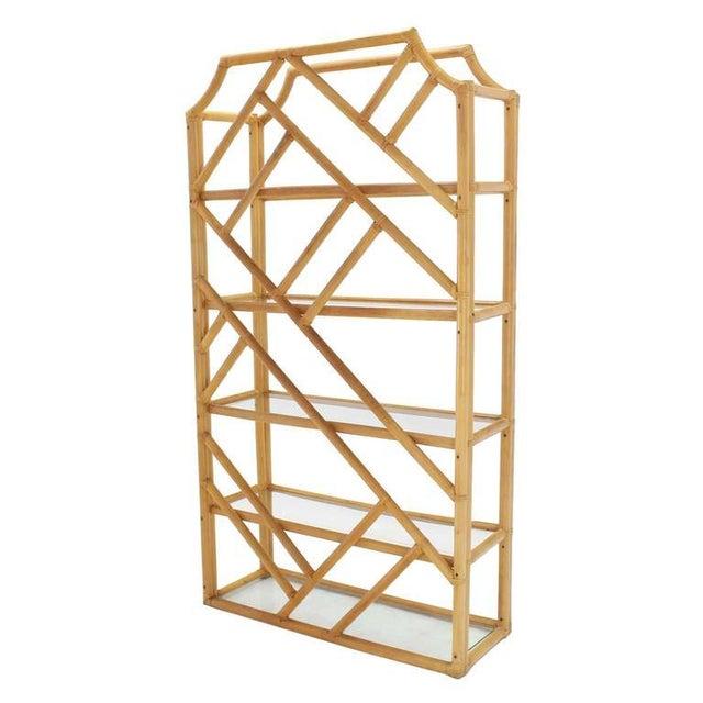 Wood Large Rattan Shelf For Sale - Image 7 of 8