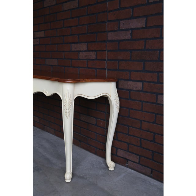 Ethan Allen French Country Ethan Allen Legacy Carved Console/Sofa Table For Sale - Image 4 of 7
