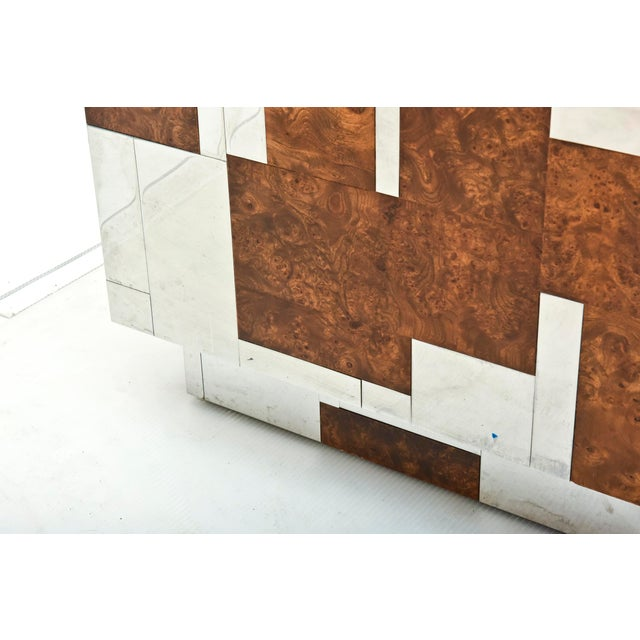 Walnut American Modern Burl Walnut and Chrome Two-Door Cabinet, Paul Evans For Sale - Image 7 of 9
