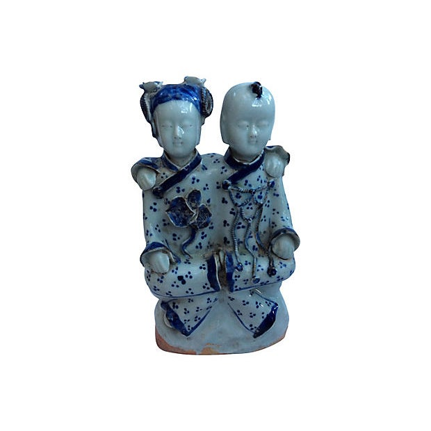 Chinese Blue & White Best Friends Figurine - Image 1 of 5