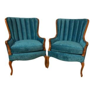 1920s Vintage Art Deco Plush Velvet Lounge Chairs- A Pair For Sale