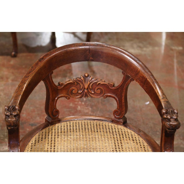 Wood 19th Century French Louis XIII Carved Oak Barley Twist and Caning Desk Armchair For Sale - Image 7 of 12