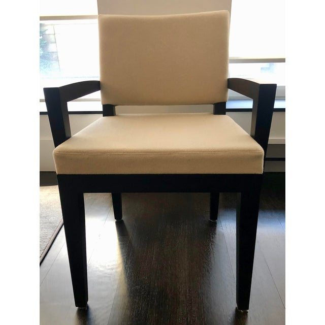 Set of 8 upholstered Desiron 'Turner' Dining Chairs, 2 arm chairs and 6 side chairs. Espresso Walnut finish. Arm chairs...