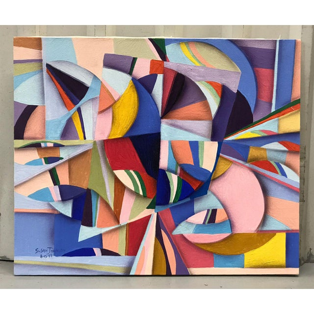 1990s 1994 Abstract Geometric Painting by Susan Johnson For Sale - Image 5 of 10