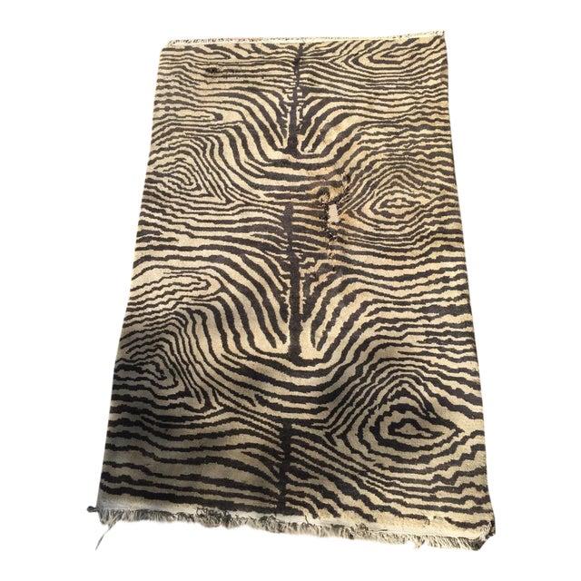 "Cream & Black Animal Print Wool Rug - 4' X 6'4"" - Image 1 of 5"
