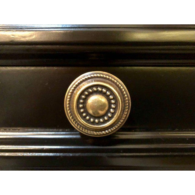 Gold Louis XVI Style Bronze-Mounted Ebony Writing Desk or Vanity in Jansen Manner For Sale - Image 8 of 13