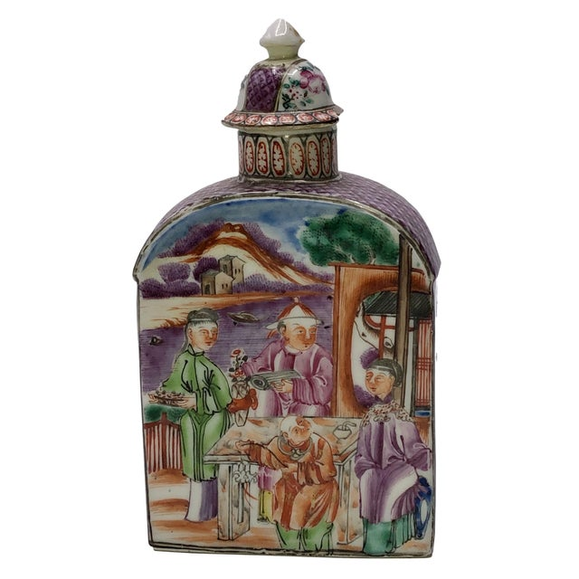 18th Century Mandarin Porcelain Tea Caddy For Sale - Image 10 of 10