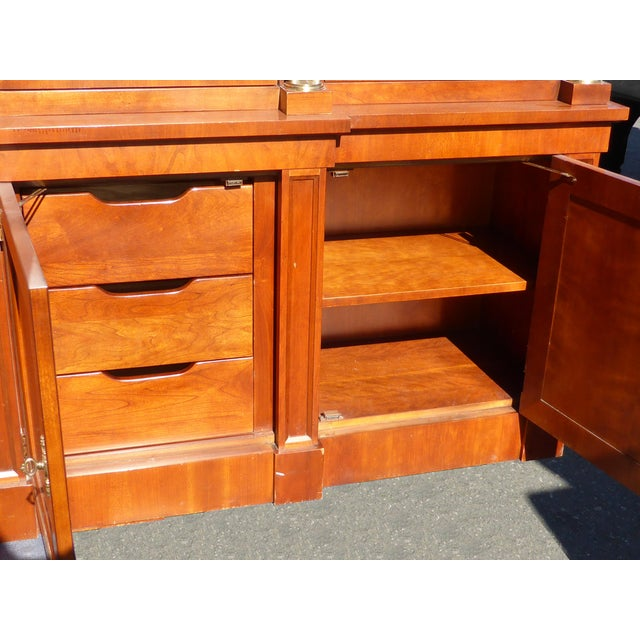 Vintage Baker Furniture Federal Style Solid Wood China Hutch Cabinet For Sale - Image 9 of 11