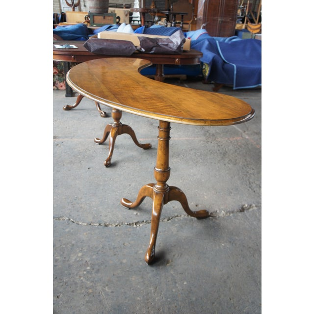 Traditional Baker Furniture Walnut Kidney Bean Writing Desk/Console Table For Sale - Image 10 of 13