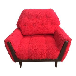 Mid-Century Red Shag Fur Chair For Sale