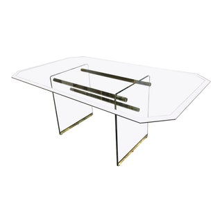 1970s Modern Pace Collection Style Glass and Brass Dining Table