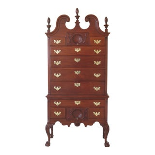 1940s Vintage Drexel Chippendale Ball & Claw Mahogany Highboy For Sale