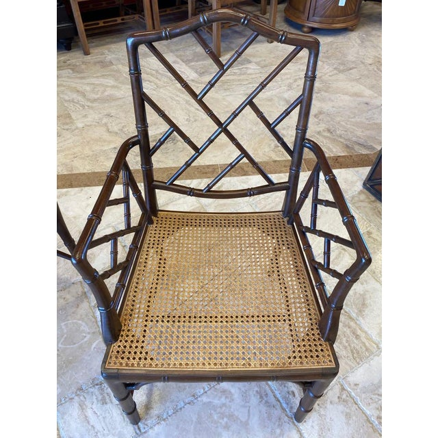 Vintage Chinese Chippendale Faux Bamboo Armchairs or Host & Hostess Chairs - a Pair For Sale In Tampa - Image 6 of 11