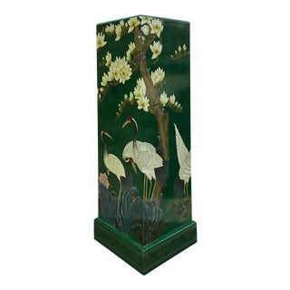 Vintage Asian Hand Painted Crane and Floral Dark Green Lacquer Plant Stand For Sale
