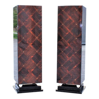 Monumental Pair of French Art Deco Exotic Macassar Ebony Pedestals M-O-P Accents Circa 1940s.