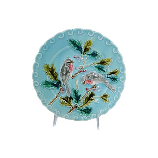 Vintage French Majolica Parrot Wall Plate For Sale