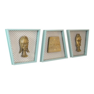 1950s Atomic Trapezoid Shadow Boxes with Clock and Native Heads - Set of 3 For Sale