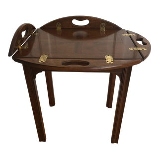 20th Century Traditional Baker Furniture Mahogany Butler Tray Table For Sale