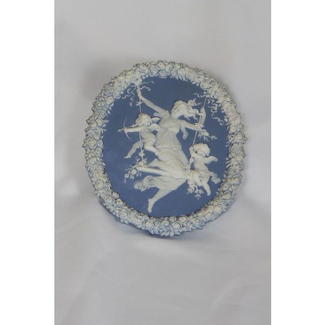 Ceramic Traditional Oval Blue and White Jasperware Plaque For Sale - Image 7 of 7