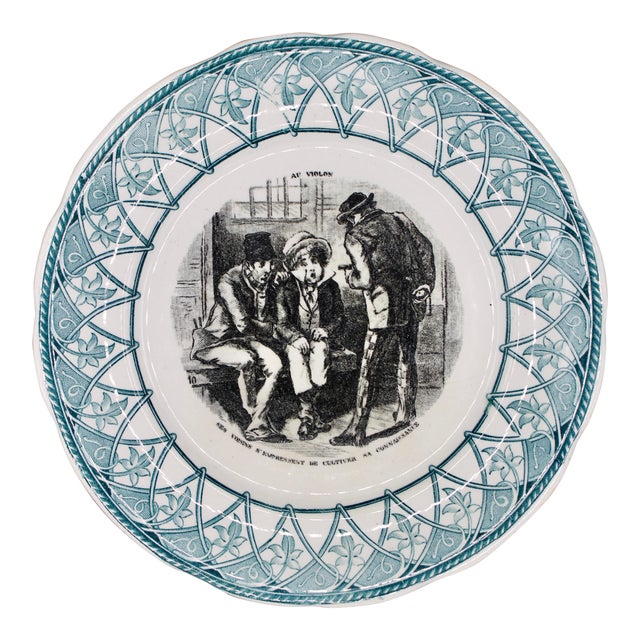 """Early 20th Century French Plate """"Au Violon"""" For Sale"""