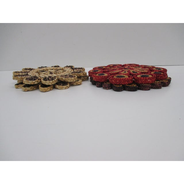 Vintage Set of Four (4) Small Woven Abaca Round Trivets in Natural Fiber In shades of red, natural, taupe and brown Size:...
