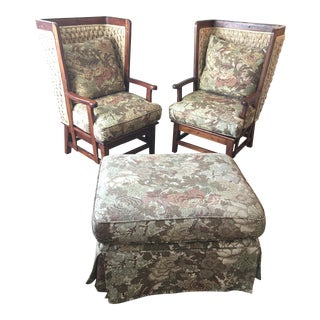 Ralph Lauren Home Orkney Wing Chairs & Ottoman Set - 3 Pcs.