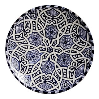 Moroccan Blue/White Hand Painted Pottery Plate For Sale
