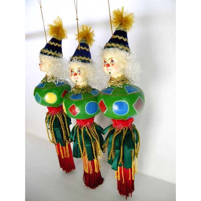 Italian Harlequin Porcelain Hand Painted Christmas Ornaments Set
