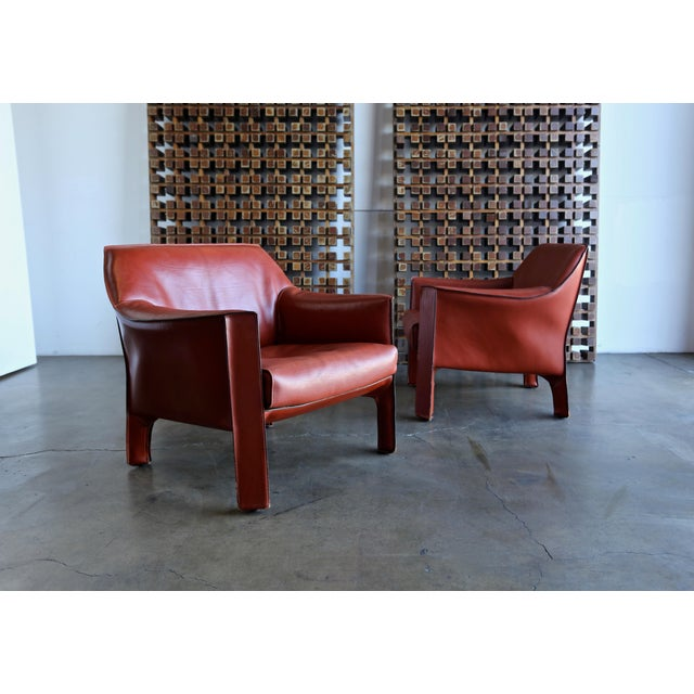 1990s Mario Bellini for Cassina Large Cab Lounge Chairs - a Pair For Sale - Image 5 of 13