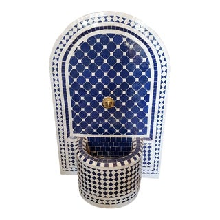 Blue and White Arched Moroccan Mosaic Tile Fountain For Sale
