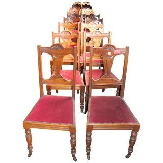 Set of 18 19th Century English Walnut Chairs For Sale