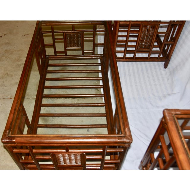 1980s 1980s Vintage McGuire Style Bamboo Rattan Glass Top Tables- Set of 3 For Sale - Image 5 of 12