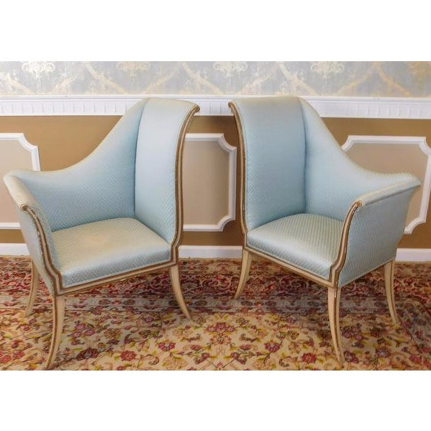 Mirrored French Louis 1950s Hallway Chairs - Pair - Image 7 of 9