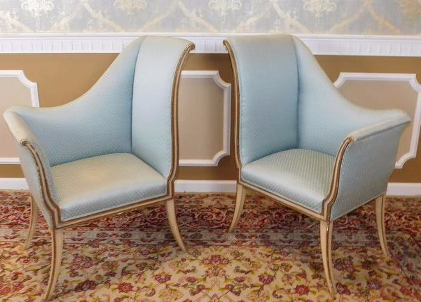 Mirrored French Louis 1950s Hallway Chairs   Pair   Image 7 Of 9