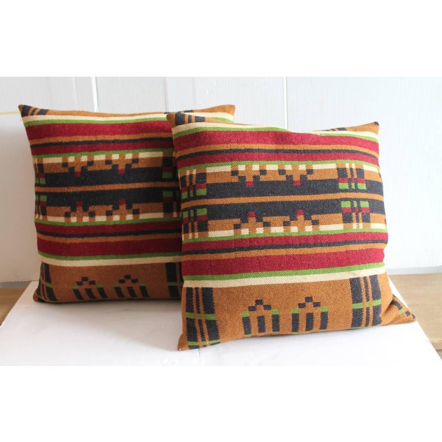 New York Blanket Company Pair of 19th Century Horse Blanket Pillows For Sale - Image 4 of 4