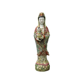 Chinese Porcelain Color Standing Kwan Yin W Kid Statue