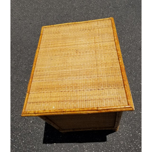 1970s Vintage Mid Century Modern Bamboo Rattan Nightstand For Sale - Image 5 of 10