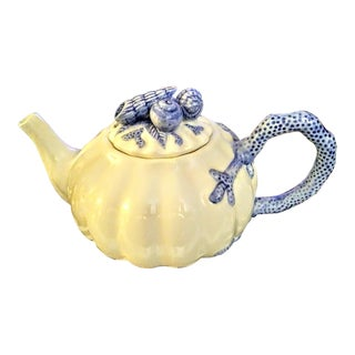 Vintage Fitz and Floyd 1991 Blue and White Seashell Encrusted Tea Pot For Sale